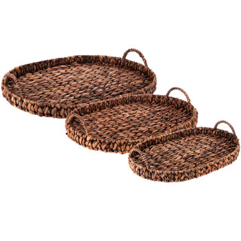 Oval Brown Woven Water Hyacinth Trays